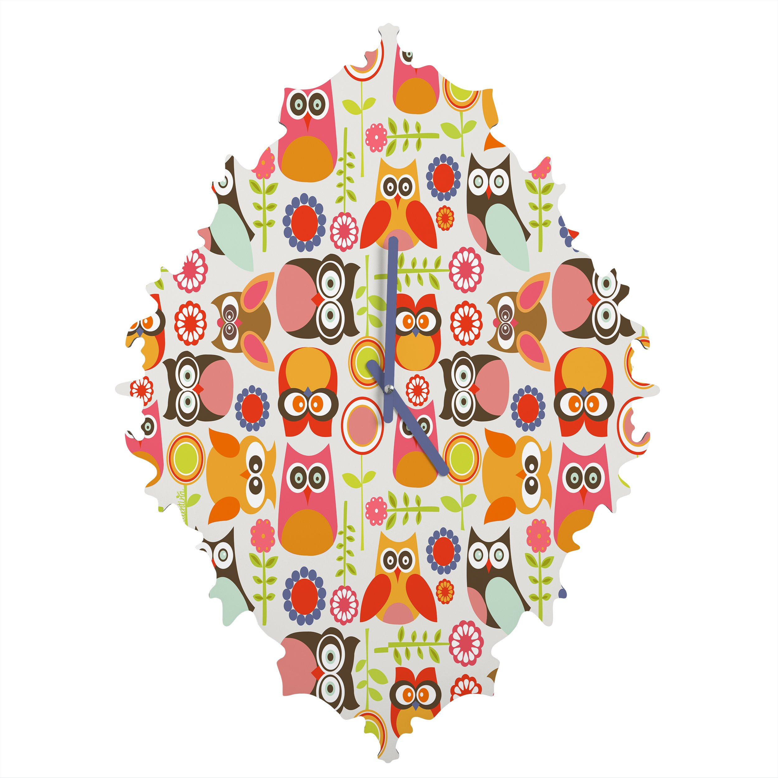 Deny Designs  Valentina Ramos, Cute Little Owls, Baroque Clock, Medium
