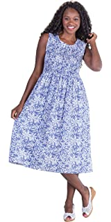 0e0b98218 Metropolitan Plus Smocked Sleeveless Long Cotton Sundresses in Assorted  Prints
