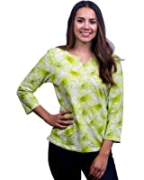 Lace Republic Women's Colorful Floral Print 3/4 Sleeve Tunic Top (2112)