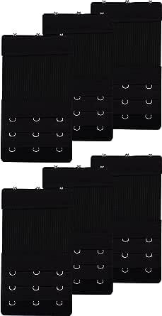 Bra Extender 3 Hook or 4 Hook Elastic Bra Extensions - 6 Pcs (Black,White,Beige)
