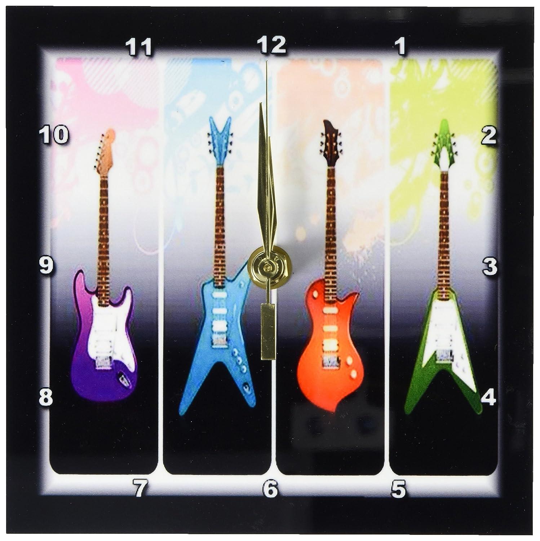 3dRose dc/_40766/_1 Framed 4-Heavy Metal N Rock Guitars Desk Clock 6 by 6-Inch