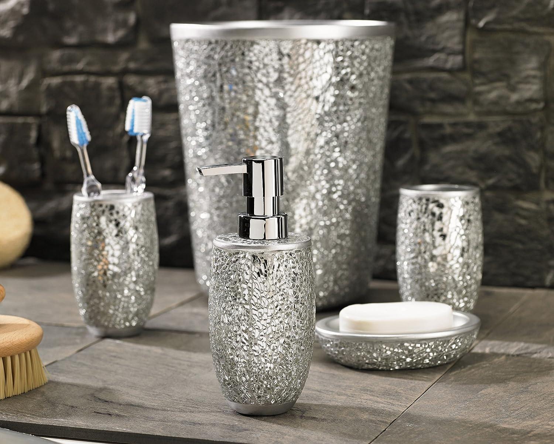 Silver bathroom accessories - Flato Magic Silver Bathroom Accessories Piece Set With Lotion Silver Crackle Bathroom Accessories