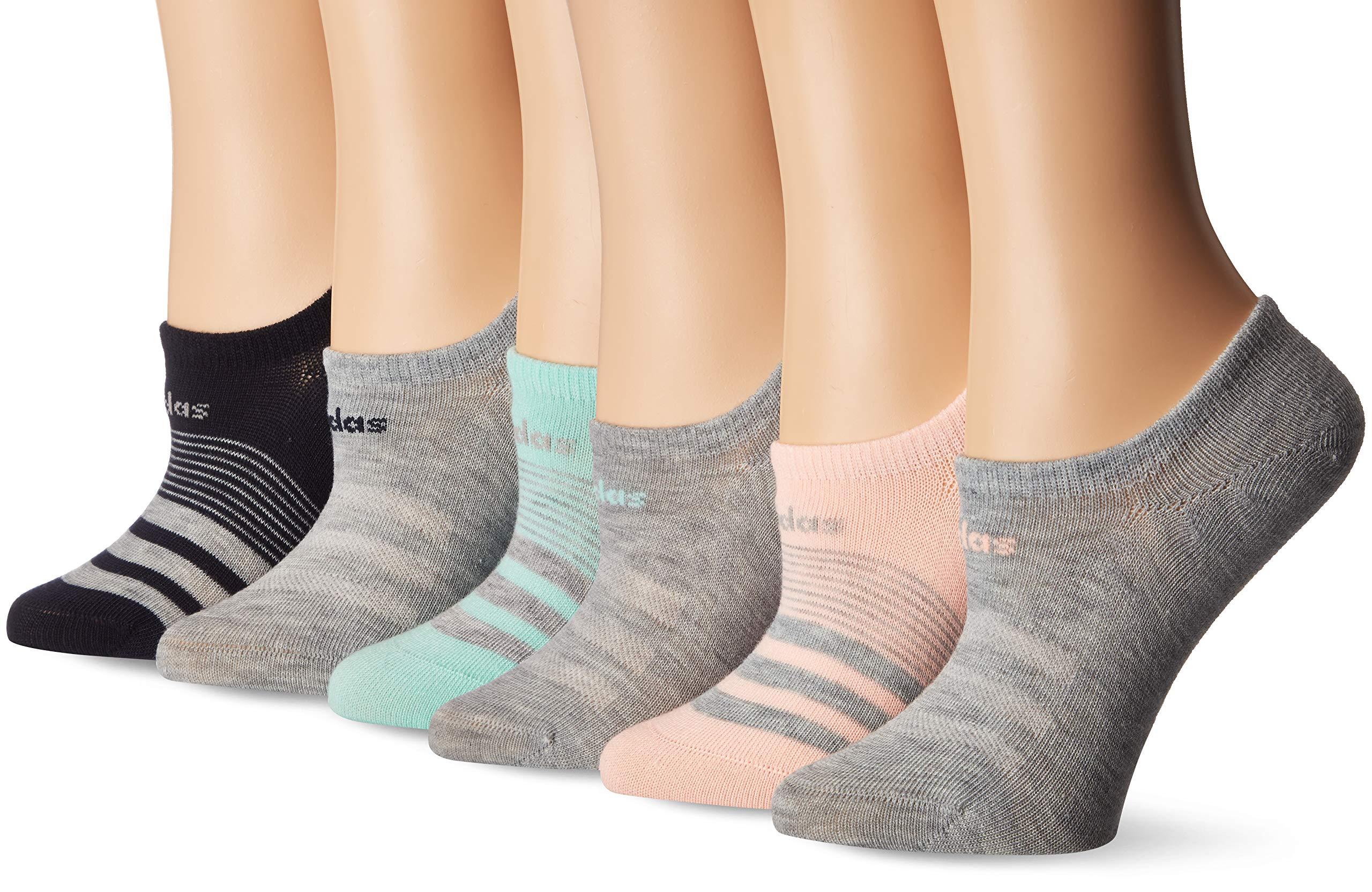 adidas Women's Superlite Super No Show Socks (6-Pack), Clear Orange/Light Heather Grey/Clear Mint/Legend, 5-10
