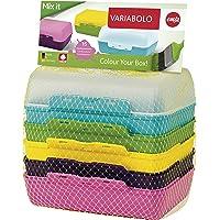 Emsa 509388 3er Brotdosenset, 6 kombinierbare Halbschalen, 16 x 11 x 4 cm, Bunt, Variabolo Mix it