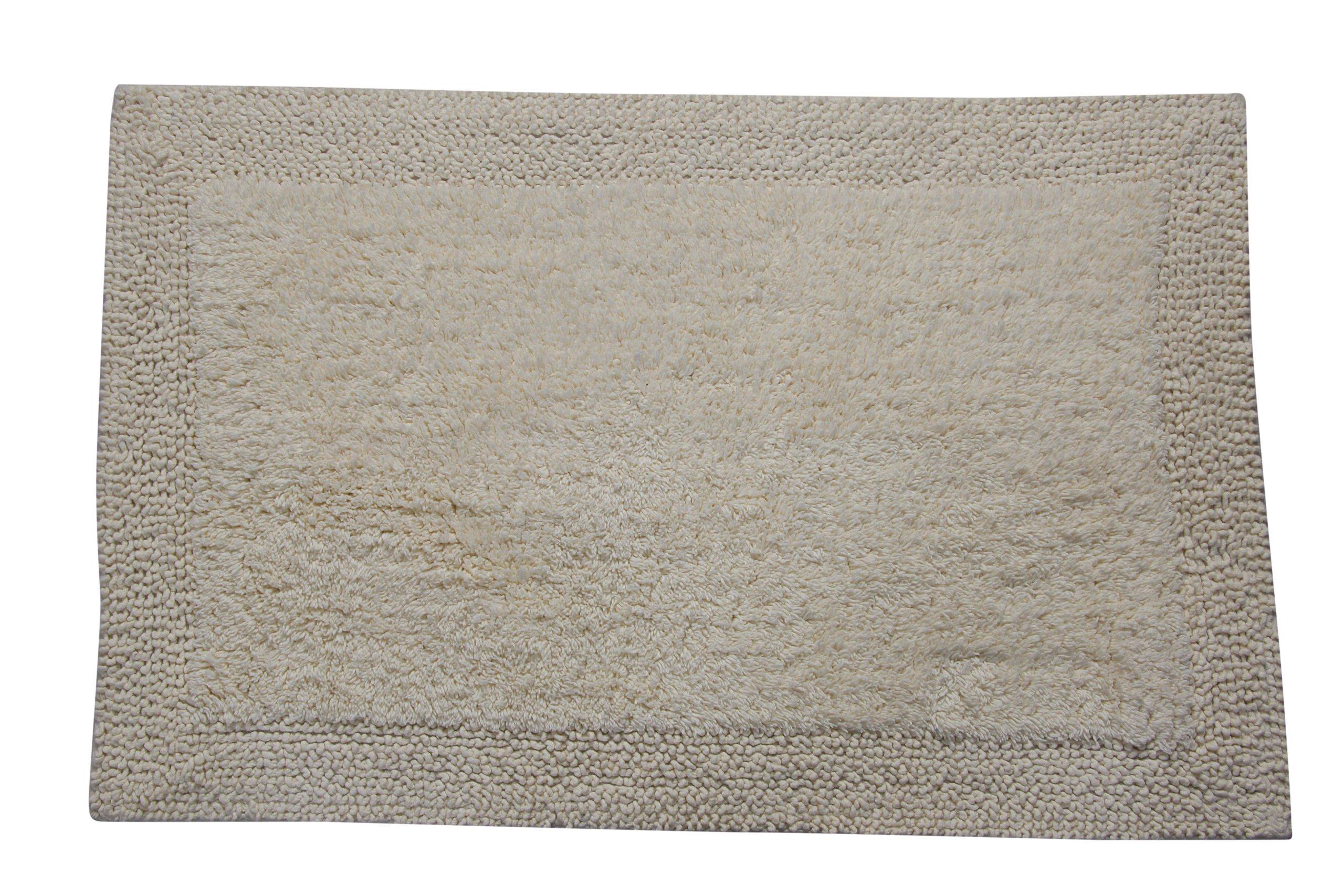 Castle Hill Bella Napoli 100% Cotton Reversible Bath Rug 20X30 Ivory - Super soft absorbent bath rug Reversible bath mat Easy care machine washable - bathroom-linens, bathroom, bath-mats - 91W38kHBA3L -
