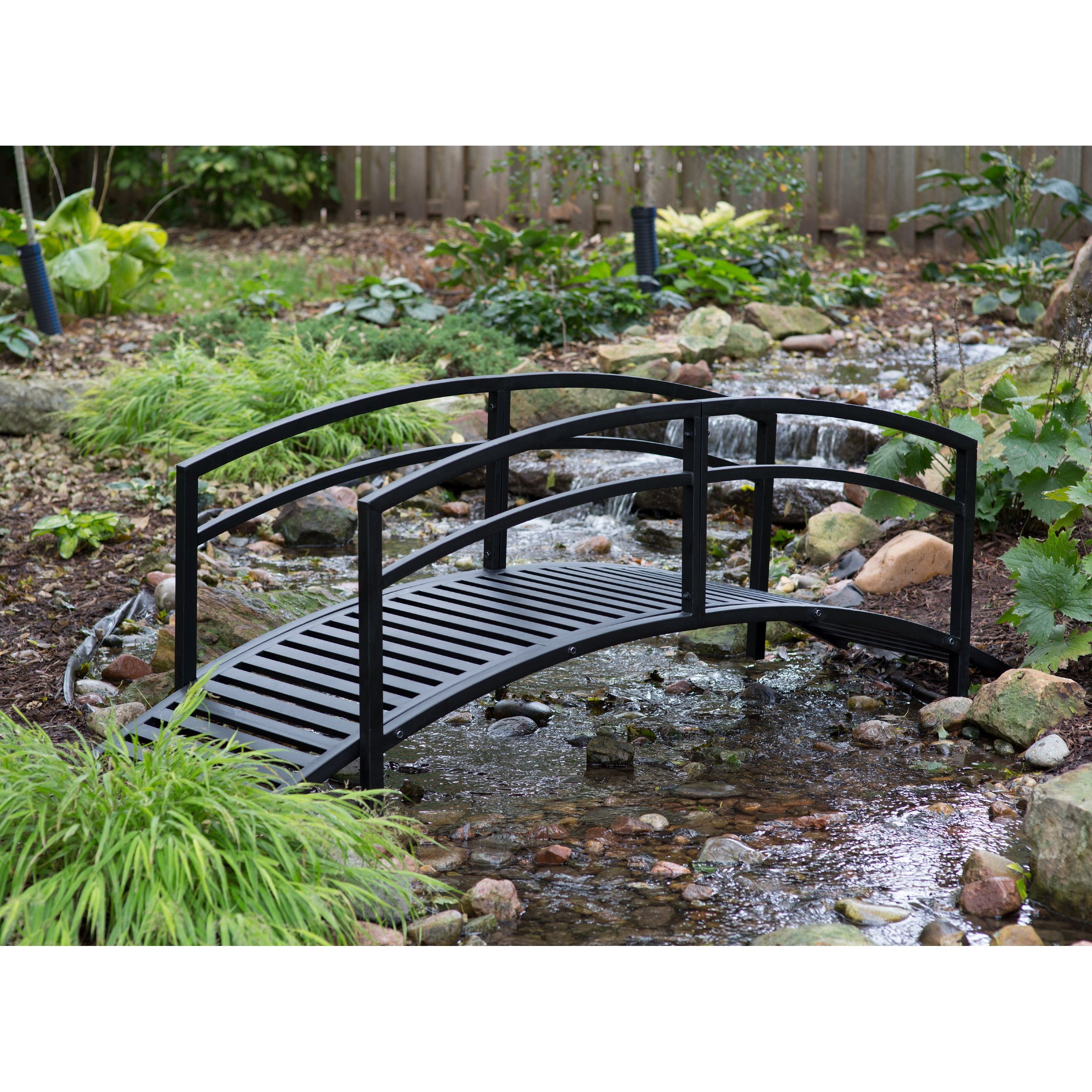 Black Metal Danbury Garden Bridge - 8 ft. Double-Arched Rails and a Classic Slatted Walking Surface (93L x 28W x 29H in.) Assembly is Required by Pelham Living