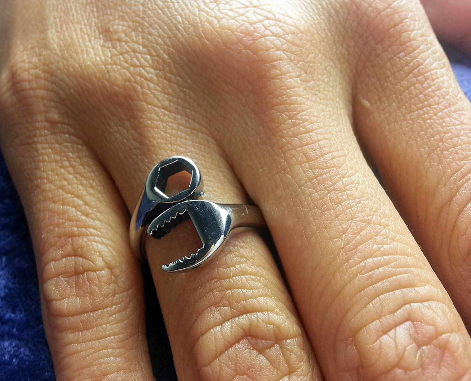 Amazon.com: Stainless Steel Biker Ring - Woman / Ladies Wrench ...