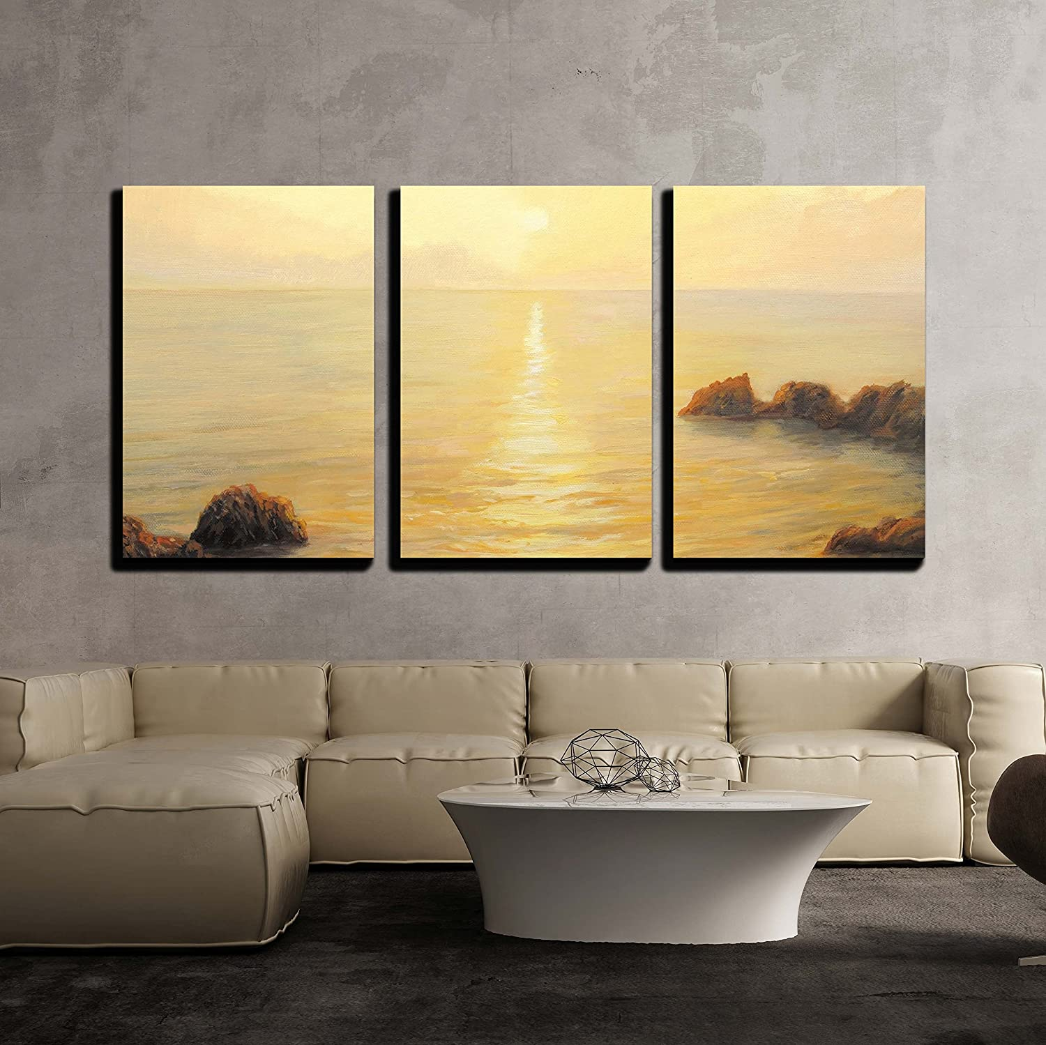 wall26 - 3 Piece Canvas Wall Art - Colorful Golden Sunrise with ...