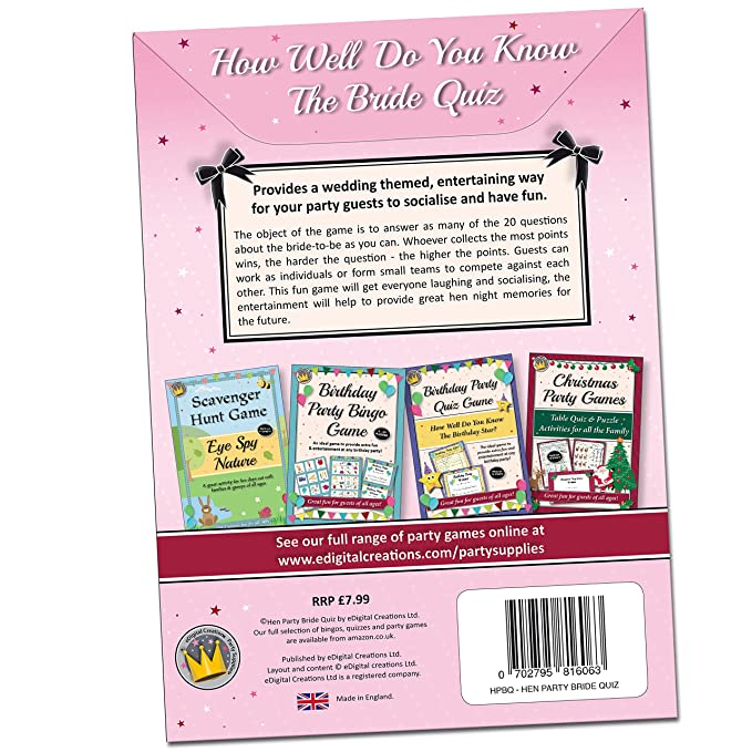 HEN NIGHT PARTY GAMES How well do you know the Bride Quiz Fun Hen