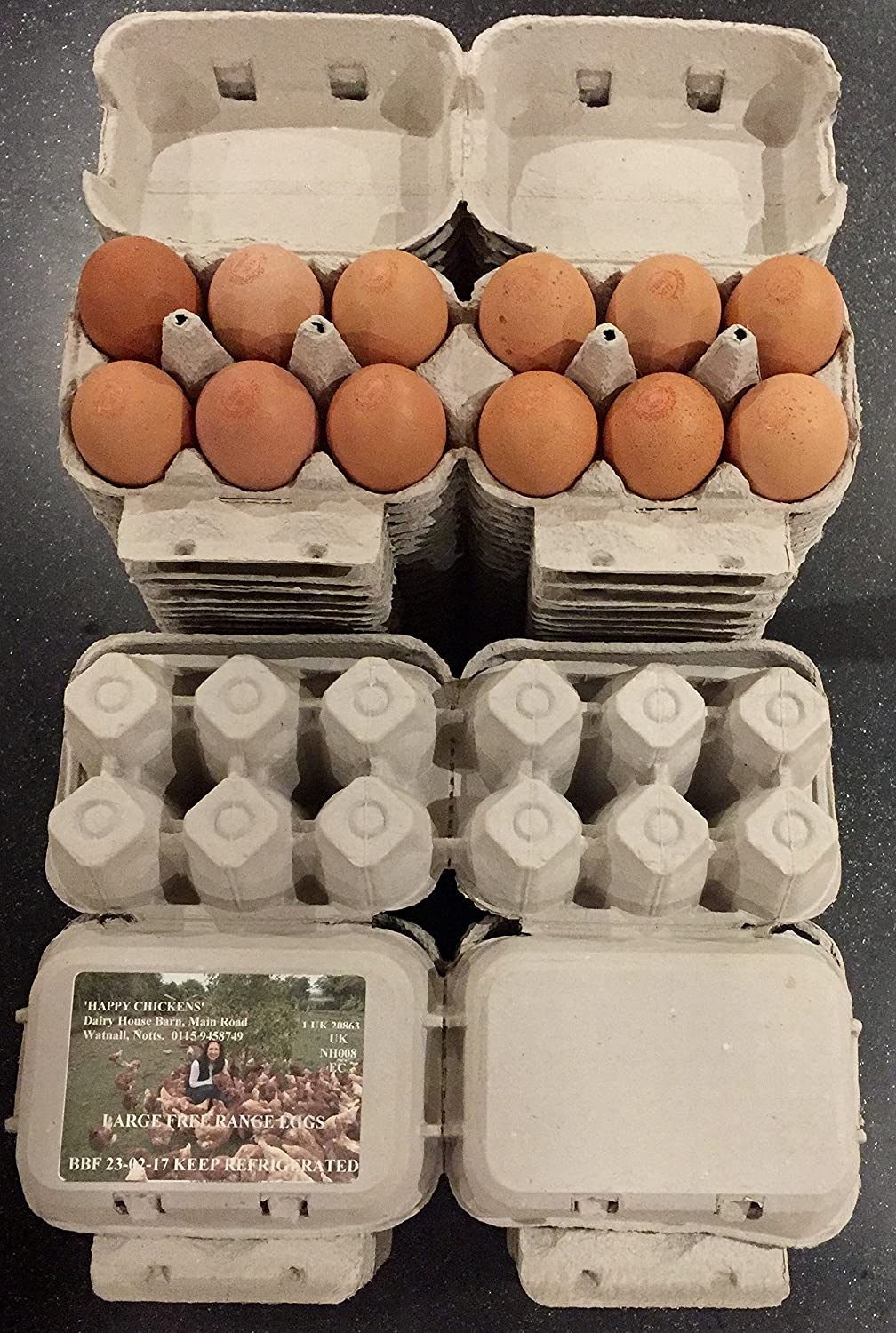100 HALF DOZEN ECONOMY 'FLAT TOP' EGG BOXES SUITABLE FOR LABELS UP TO LRG EGGS HAPPY CHICKENS
