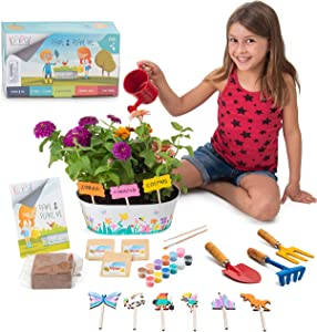Kipipol Kids Gardening Kit- Plant Kit w/Gardening Tools for Kids, 12 Paints, Planter, Flower Seeds- Unique Kids Crafts Kit– Flower Growing Kit– Unique Science and Garden Gift for Girls & Boys Age 6+