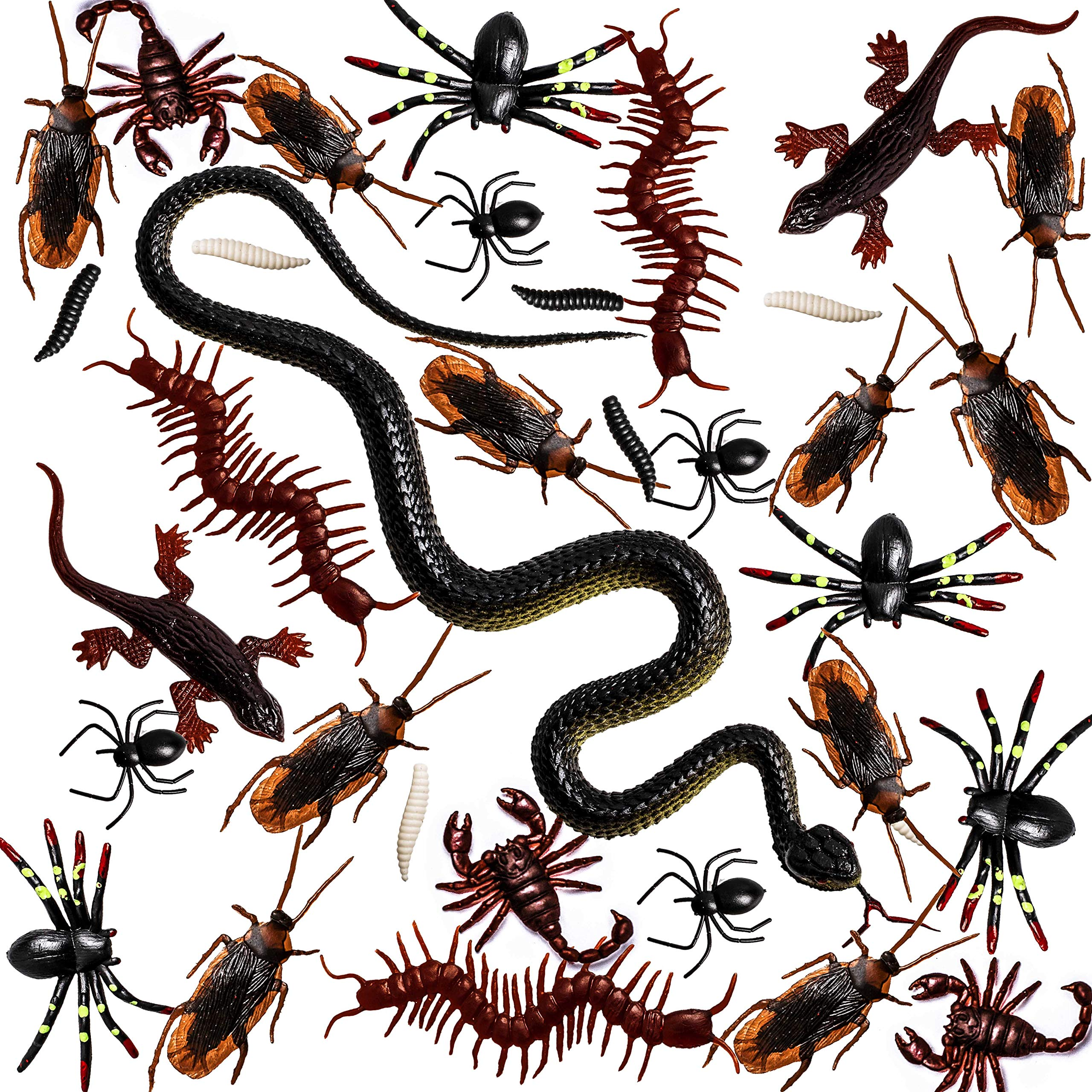 Whaline 148 Pieces Plastic Bugs Fake Snake Cockroaches Spiders Worms Scorpions and Gecko for Halloween Party Favors and Decoration