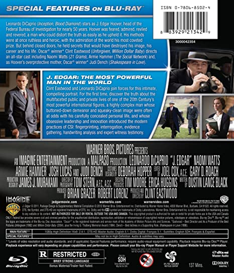 Amazon J Edgar Blu Ray Leonardo Dicaprio Armie Hammer