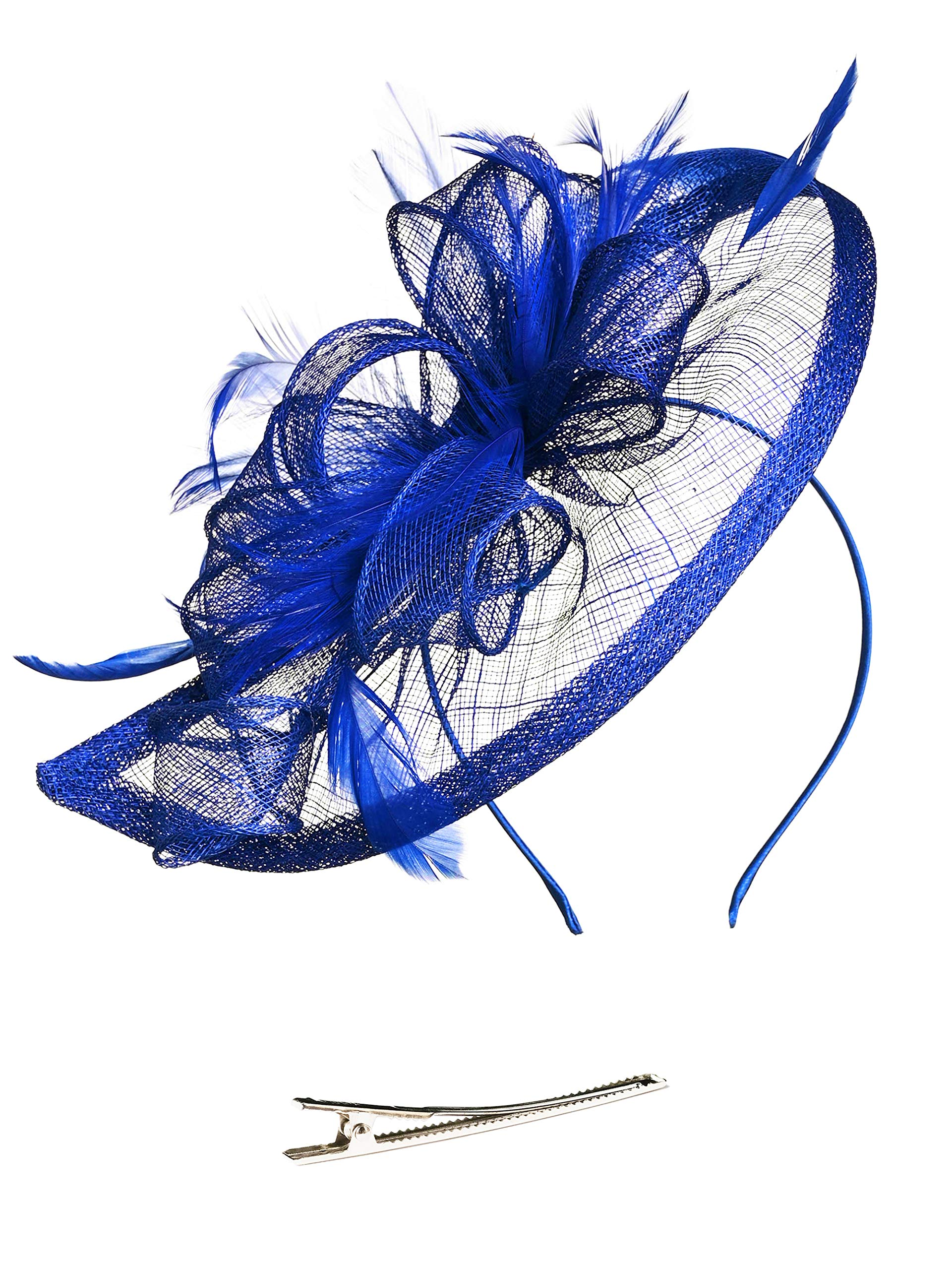 Fascinators Hat for Women Kentucky Derby Headband Wedding Mesh Feathers Tea Party Hair Clip (1-Royal) by Zivyes (Image #2)