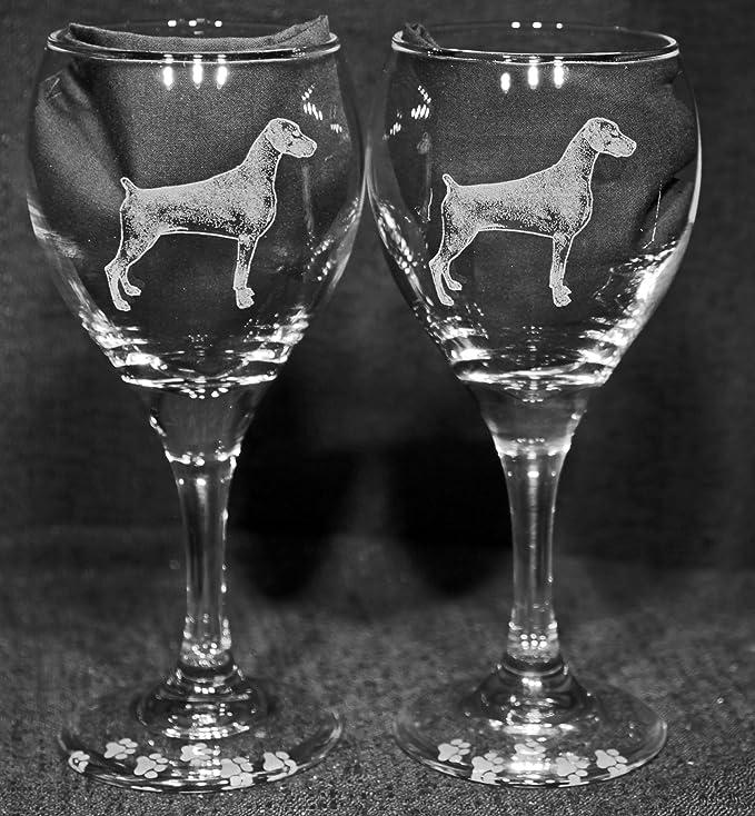Dobermann Wine Glass Dog Gift Personalised Engraved Crystal Gift For Dog Lovers