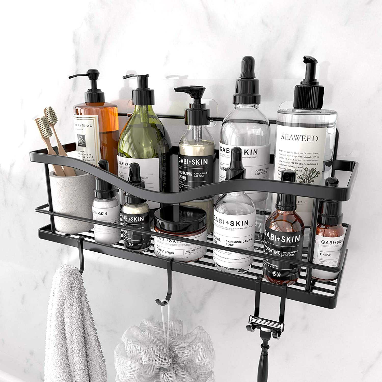 Shower Caddy Basket Shelf with Hooks.  Over 13,000 Reviews!