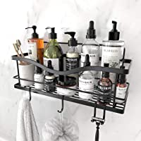 KINCMAX Shower Caddy Basket Shelf with Hooks, Caddy Organizer Wall Mounted Rustproof Basket with Adhesive, No Drilling…