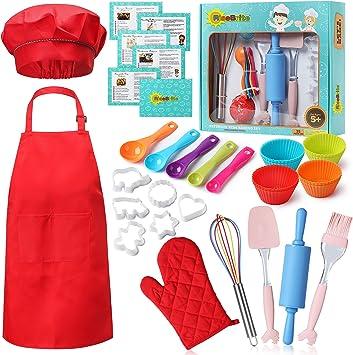 RISEBRITE Real Kids Baking Set 35 Pcs Includes Kids Apron, Chef Hat, Oven Mitt