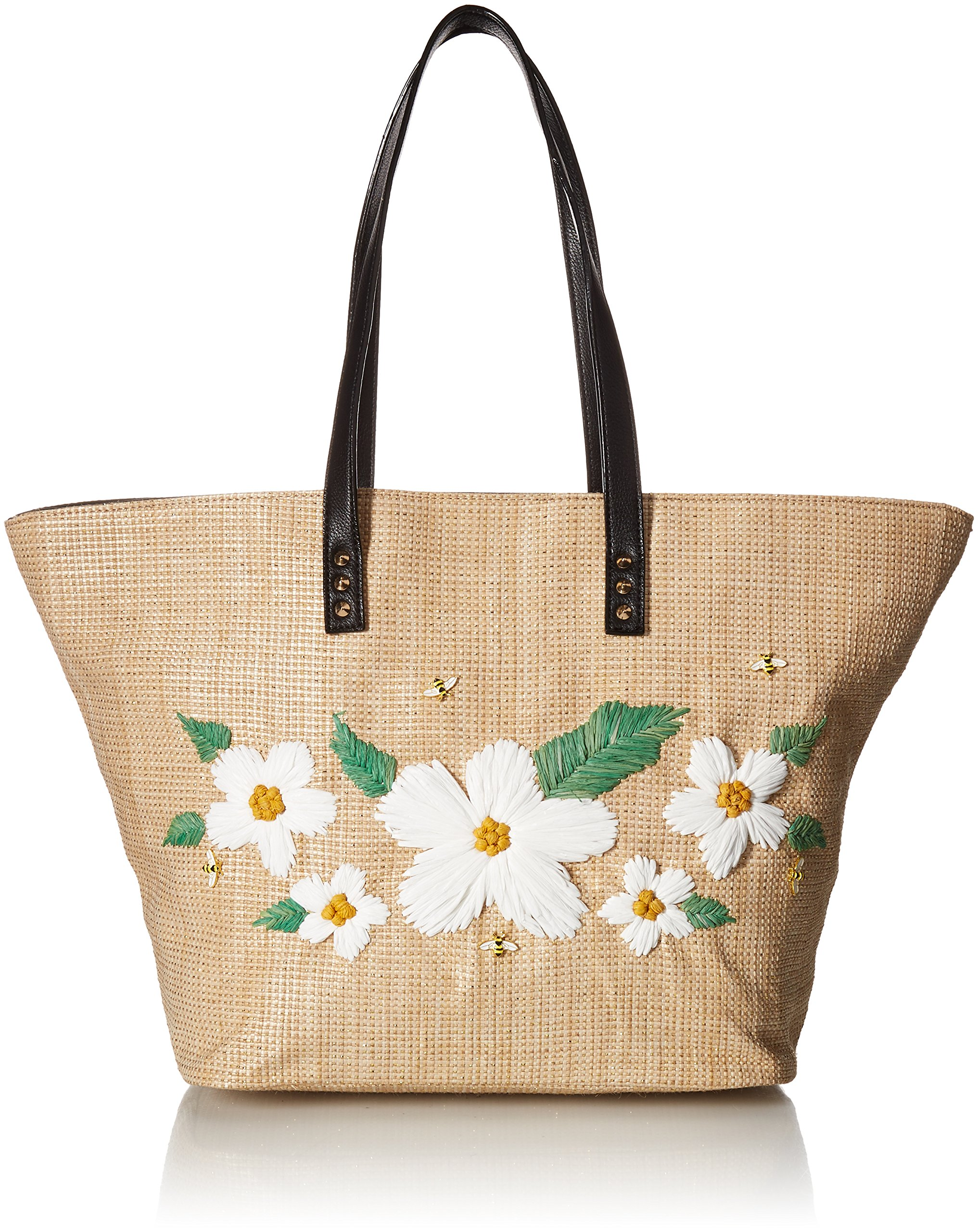 Betsey Johnson Daisy'D and Confused Flower Tote Shoulder Bag, Natural