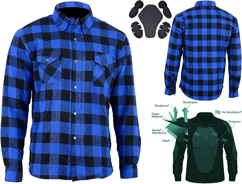 Bikers Gear Australia - Camisa de franela para motocicleta, con forro de aramida, color azul y negro, talla grande: Amazon.es: Coche y moto