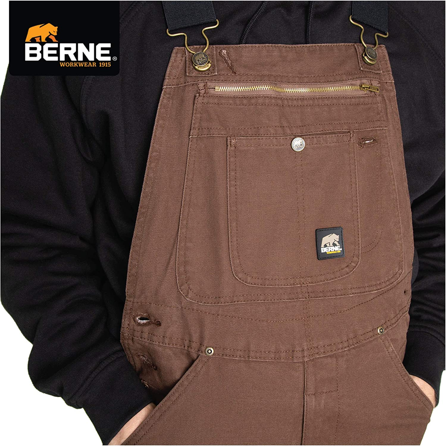 Berne Mens Big /& Tall Unlined Washed Duck Bib Overall