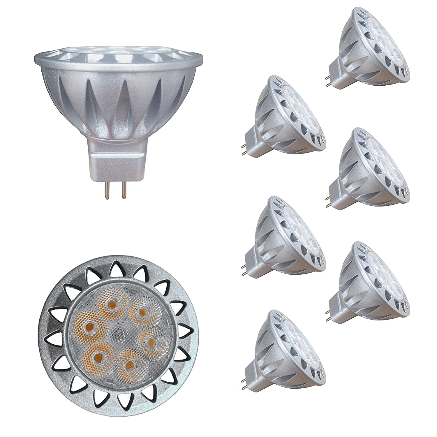 ALIDE MR16 Led Bulbs Replace 50W Halogen Equivalent,Bi-pin GU5.3 7W 12V Low Voltage,2700K Warm White Spotlight for Outdoor Landscape Flood Track Recessed Down Lighting,Not Dimmable,50MM,560lm,38°,6pcs