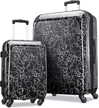 Amazon Com American Tourister Disney Hardside Luggage With Spinner Wheels Mickey Mouse Scribbler Multi Face 2 Piece Set 21 28 Kids Luggage