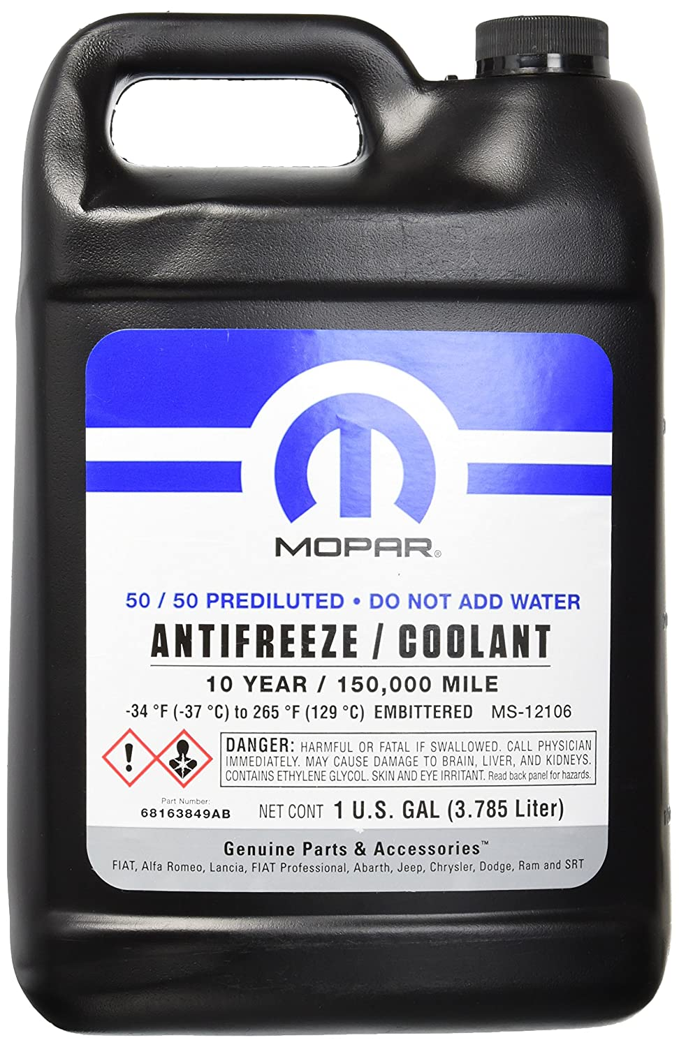 Amazon.com: Mopar 10 Year/150,000 Mile Coolant 50/50 Premixed: Automotive