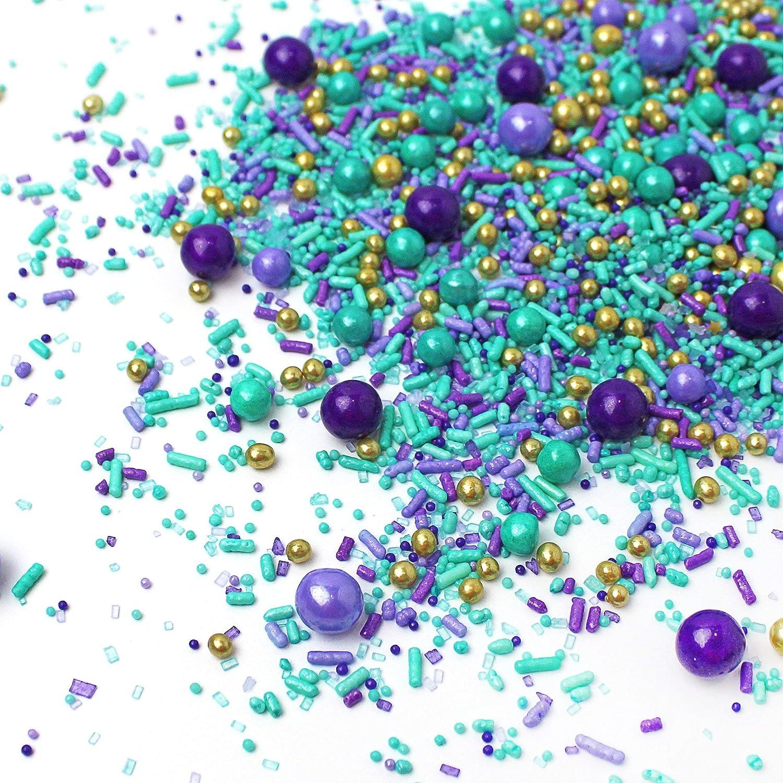 Edible Unicorn Mermaid Mix Cupcake Sprinkles Cake Topper Decoration Aqua Purple