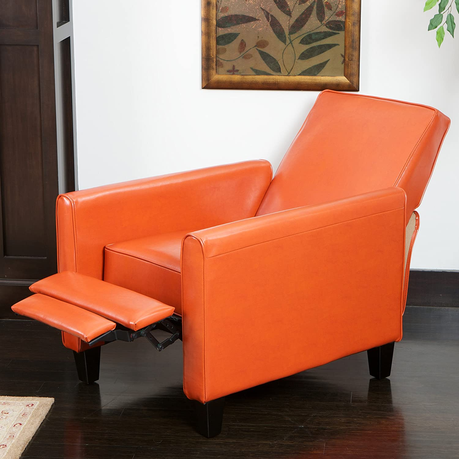 Amazon.com: Best Selling Davis Leather Recliner Club Chair, Burnt Orange:  Kitchen U0026 Dining