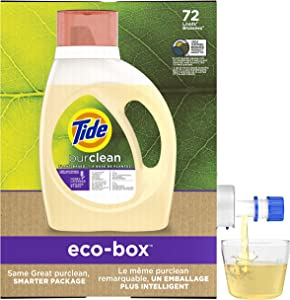 Tide Purclean Plant-based Liquid Laundry Detergent eco-box, HE Compatible, 105 fl oz 72 loads