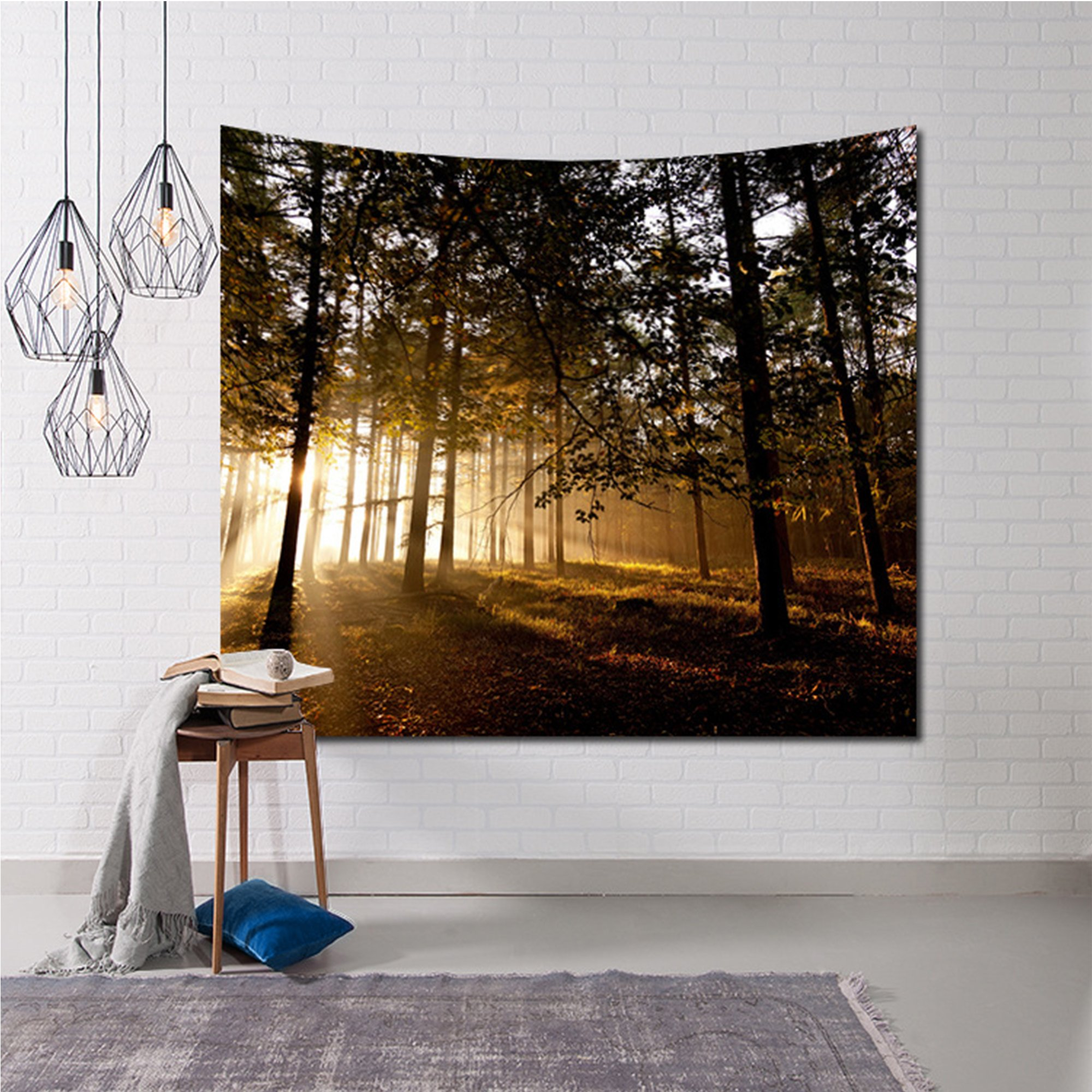 Nature Tapestry, Beautiful Scenic Nature Wall Hanging Tapestry, Exotic Sunset in the Woods Wall Accent Decor for Living Room Bedroom Dorm Decor (90 x 60 inch)