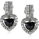14K White Gold Black and White Diamond Earrings (1 Cttw, G-H Color, I1-I2 Clarity)