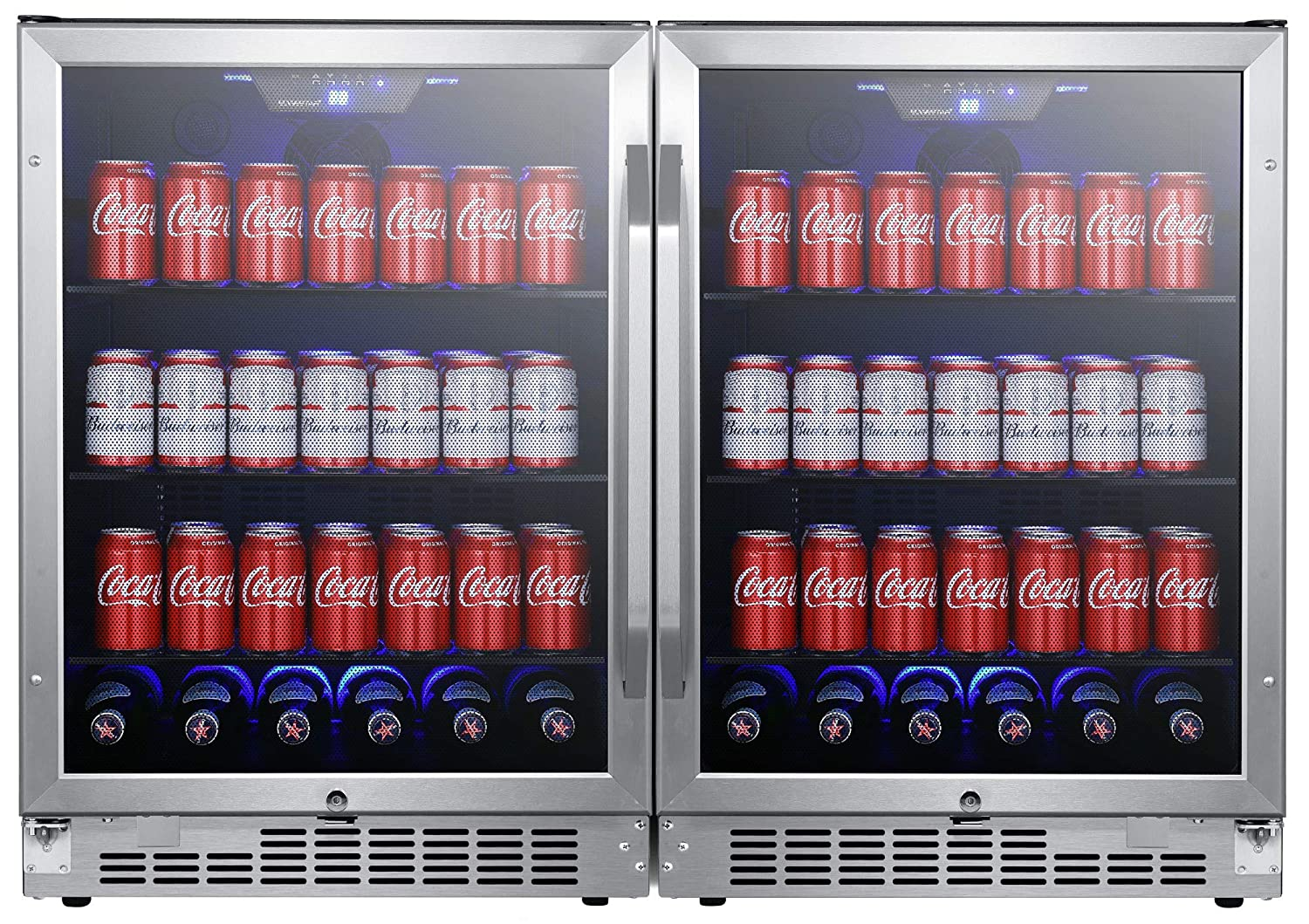 EdgeStar CBR1502SGDUAL 47 Inch Wide 284 Can Built-in Side-by-Side Beverage Cooler with LED Lighting