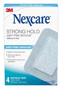 Nexcare Sensitive Skin Adhesive Pads, Pain-Free Removal, 3 Inch X 4 Inch, 4 Pack