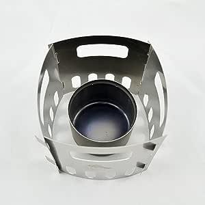 TOAKS Hornillo de alcohol de titanio y soporte, supervivencia al aire libre, viajes (cocina de alcohol + 4 soportes)