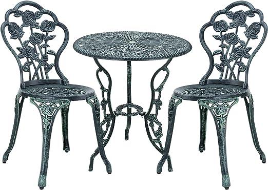 [casa.pro] Set bistro hierro fundido mesa + 2 sillas verde oscuro look antiguo muebles para jardín, terraza, balcón: Amazon.es: Jardín