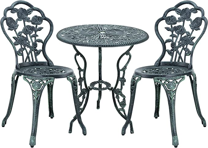 casa.pro] Set bistro hierro fundido mesa + 2 sillas verde oscuro look antiguo muebles para jardín, terraza, balcón: Amazon.es: Jardín