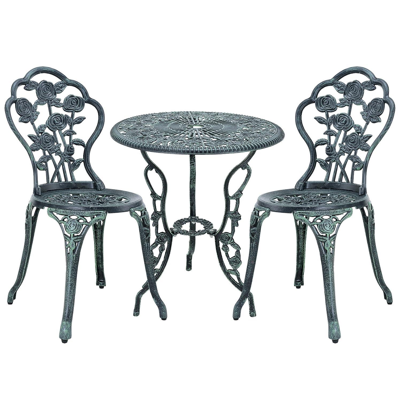 gartentisch bistro tisch 60cm rund gr n mit 2 st hlen franz sische gartenm bel. Black Bedroom Furniture Sets. Home Design Ideas