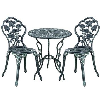 Casa Pro Gartentisch Bistro Tisch 60cm Rund Grun Mit 2 Stuhlen