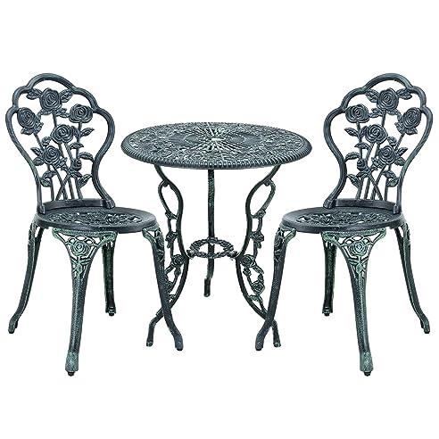 Gartentisch rund metall antik  casa.pro] Gartentisch / Bistro-Tisch 60cm, rund, grün mit 2 ...