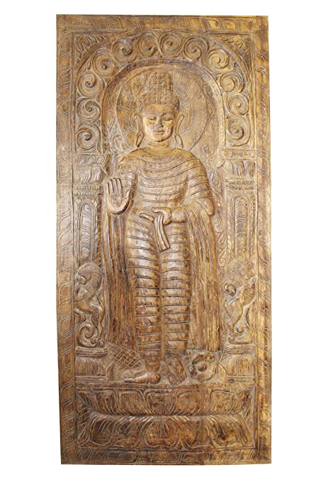 Amazon Com Mogul Interior Standing Buddha Wall Panel Hand Carving