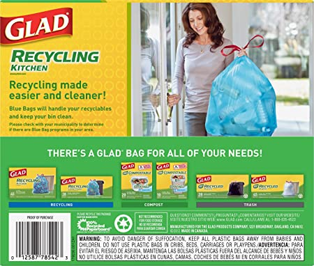 Glad Recycling Tall Drawstring Kitchen Blue Trash Bags - 13 Gallon - 45 Count - 4 Pack