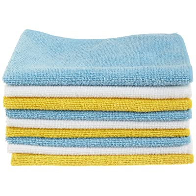 Basics Blue, White, and Yellow Microfiber Cleaning Cloths- Pack of 144: Automotive