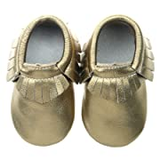 """Pidoli Girls Leather Baby Moccasins Infant Toddler Soft Sole (0 2.5M 0-3Month 3.93"""" Infant, Dark Gold)"""
