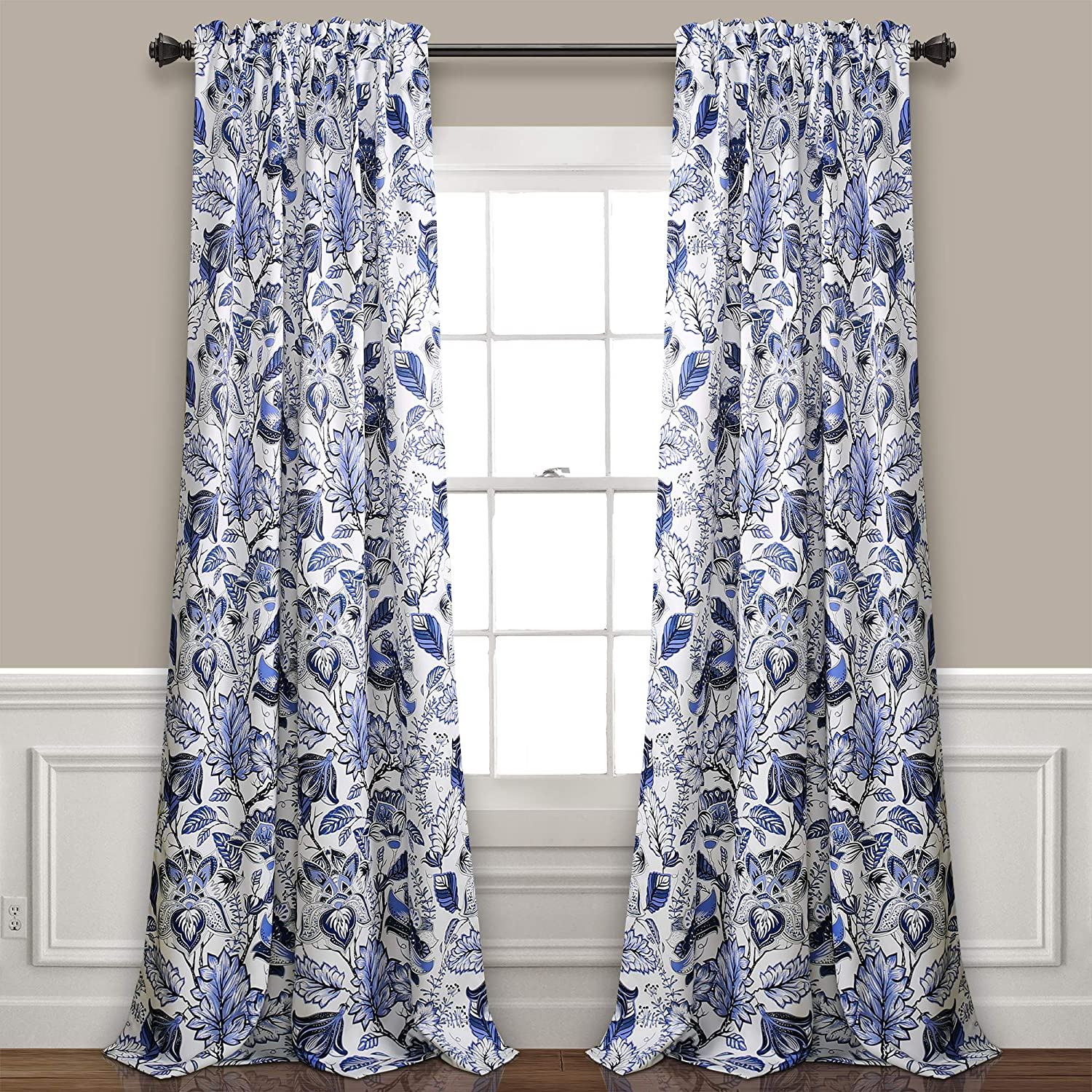 Lush Decor Cynthia Jacobean Room Darkening Window Panel Curtain Set Pair 84 L Blue 2 Count Home Kitchen