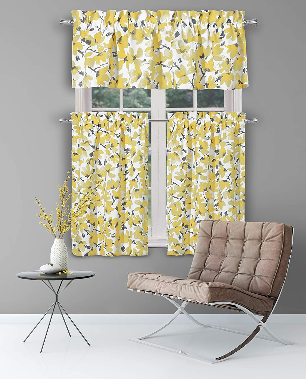 Small Window Curtain for Cafe Margery Paisley Printed Kitchen Tier /& Valance Set Laundry Bath Grey /& Yellow Serafina Bedroom -