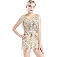 BABEYOND 1920s Flapper Dress Long Fringed Gatsby Dress Roaring 20s Sequins Beaded Dress Vintage Art Deco Dress