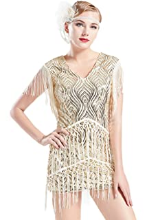 BABEYOND 1920s Flapper Dress Long Fringed Gatsby Dress Roaring 20s Sequins Beaded Dress Vintage Art Deco