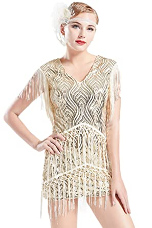 114f1e70d82a BABEYOND 1920s Flapper Dress Long Fringed Gatsby Dress Roaring 20s Sequins  Beaded Dress Vintage Art Deco